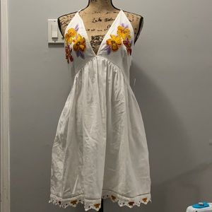 Free People Love Flowers Embroidered Dress large